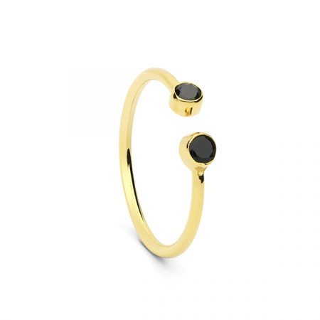 2 Stone Ring Black Onyx by Maria Pascual