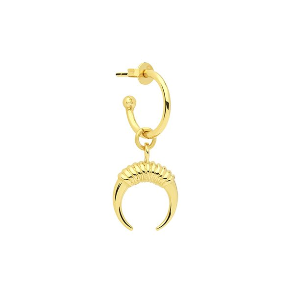 Small Gold Horn Earring by Collage Vintage & Maria Pascual