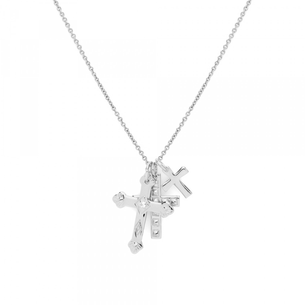 Multi Cross Necklace Silver by Maria Pascual