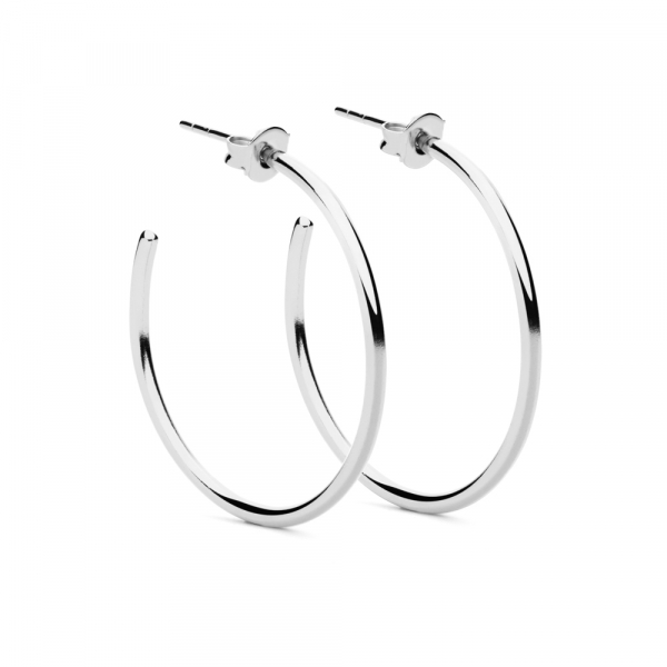 Round Earrings L Silver by Maria Pascual