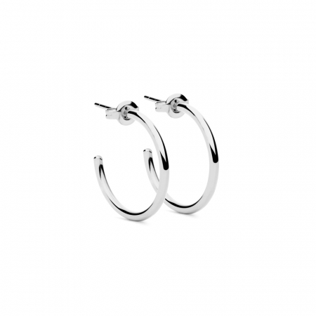 Round Earrings M Silver by Maria Pascual