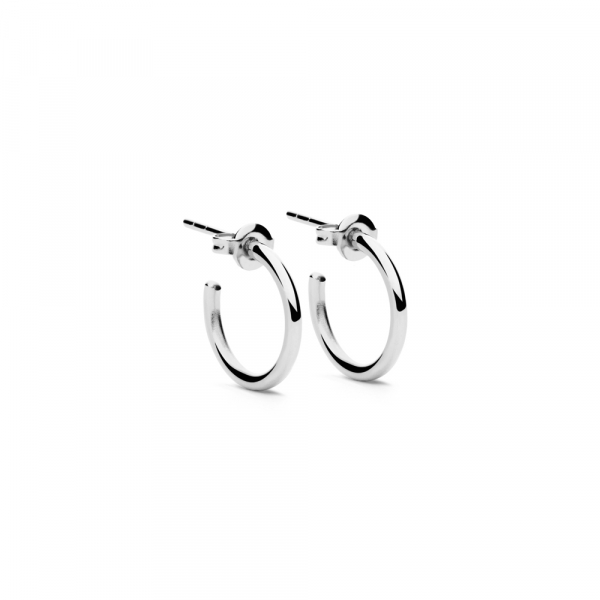 Round Earrings S Silver by Maria Pascual