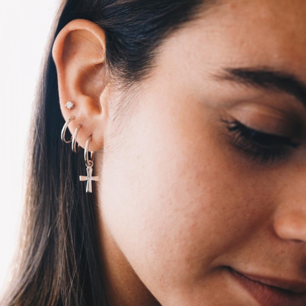 Little Drop White Earrings Silver by Maria Pascual