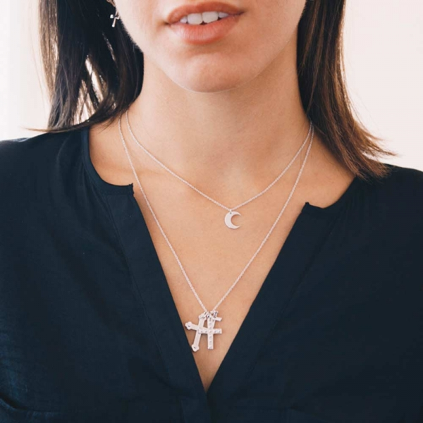 Mini Moon Necklace Silver by Maria Pascual